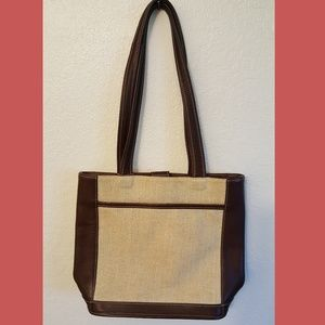 Authentic Vintage Leather Canvas  Coach Tote